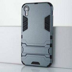 Противоударный двухкомпонентный силиконовый матовый непрозрачный чехол с поликарбонатными вставками экстрим защиты с встроенной ножкой-подставкой для Iphone Xr Серый