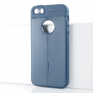 Силиконовый матовый непрозрачный чехол с текстурным покрытием Кожа для Iphone SE Синий