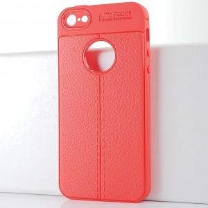 Силиконовый матовый непрозрачный чехол с текстурным покрытием Кожа для Iphone SE Красный