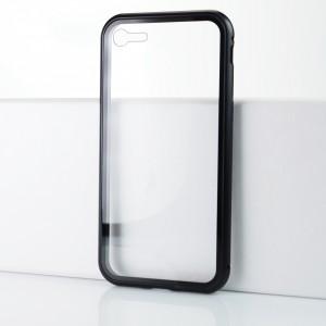 Двухкомпонентный металлический прямоугольный бампер на магнитах с транспарентной поликарбонатной накладкой для Iphone 7 Черный