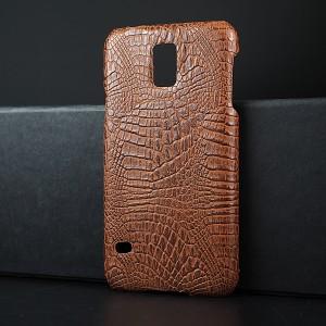 Пластиковый непрозрачный матовый чехол с текстурным покрытием Крокодил для Samsung Galaxy S5 (Duos)
