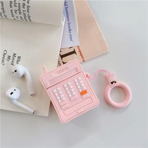 Ударопрочный силиконовый чехол дизайн Телефон с крепежным кольцом для AirPods Розовый