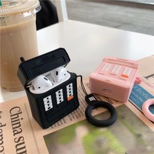 Ударопрочный силиконовый чехол дизайн Телефон с крепежным кольцом для AirPods Черный