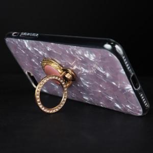 Силиконовый глянцевый полупрозрачный чехол с встроенным дизайнерским кольцом-подставкой и текстурным покрытием Камень для Iphone 7/8 Plus Розовый