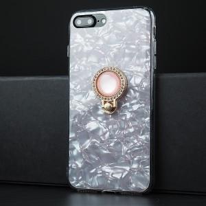 Силиконовый глянцевый полупрозрачный чехол с встроенным дизайнерским кольцом-подставкой и текстурным покрытием Камень для Iphone 7/8 Plus Белый
