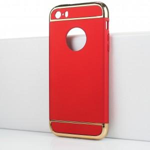 Двухкомпонентный сборный двухцветный пластиковый матовый чехол для Iphone SE Красный