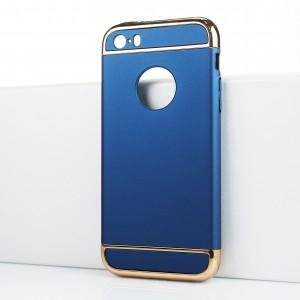 Двухкомпонентный сборный двухцветный пластиковый матовый чехол для Iphone SE Синий
