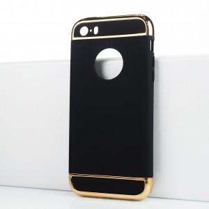 Двухкомпонентный сборный двухцветный пластиковый матовый чехол для Iphone SE Черный