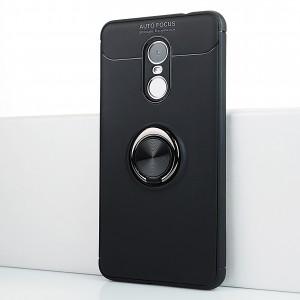 Силиконовый матовый непрозрачный чехол с встроенным кольцом-подставкой для Xiaomi RedMi Note 4X Черный