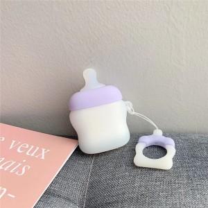 Ударопрочный силиконовый чехол дизайн Пустышка с крепежным кольцом для AirPods Фиолетовый
