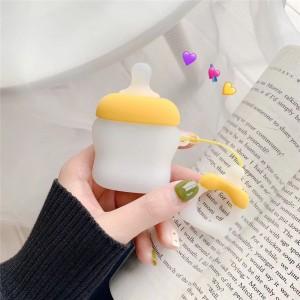 Ударопрочный силиконовый чехол дизайн Пустышка с крепежным кольцом для AirPods Желтый