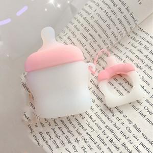Ударопрочный силиконовый чехол дизайн Пустышка с крепежным кольцом для AirPods Розовый