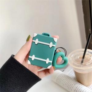 Ударопрочный силиконовый чехол дизайн Чемодан с крепежным кольцом для AirPods Зеленый