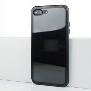 Двухкомпонентный чехол c металлическим бампером на магнитах с поликарбонатной накладкой для Iphone 7 Plus/8 Plus Черный