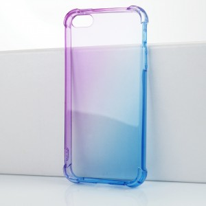 Силиконовый глянцевый полупрозрачный градиентный чехол с усиленными углами для Iphone 5/5s/SE Фиолетовый