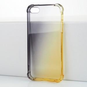 Силиконовый глянцевый полупрозрачный градиентный чехол с усиленными углами для Iphone 5/5s/SE Черный