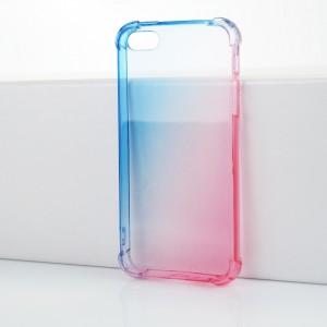 Силиконовый глянцевый полупрозрачный градиентный чехол с усиленными углами для Iphone 5/5s/SE Голубой