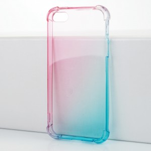 Силиконовый глянцевый полупрозрачный градиентный чехол с усиленными углами для Iphone 5/5s/SE Розовый