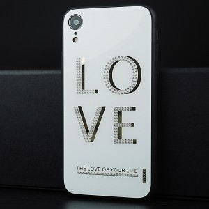 Силиконовый глянцевый непрозрачный чехол с текстурной стеклянной накладкой для Iphone Xr Белый