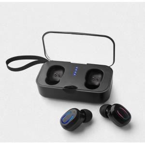 Беспроводные наушники True Wireless Bluetooth 5.0 с LED-индикаторами и магнитным зарядным кейсом 500мАч на ремешке