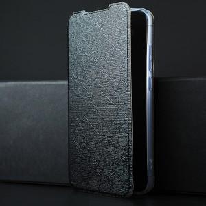 Чехол флип подставка текстура Линии на силиконовой основе для Xiaomi RedMi Note 7 Черный