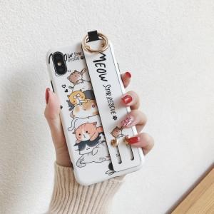 Силиконовый матовый непрозрачный чехол с принтом и петлей-держателем для Iphone 7/8 Белый