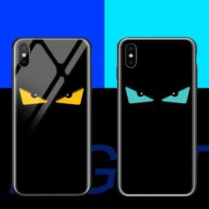 Силиконовый глянцевый непрозрачный чехол с co стеклянной накладкой и флуоресцентным принтом для Iphone 7/8