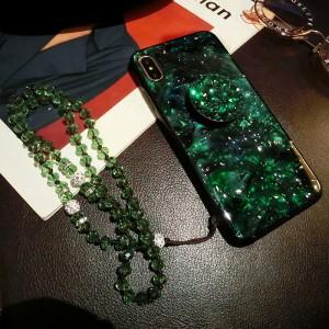 Силиконовый матовый непрозрачный чехол с поликарбонатной накладкой текстура Изумруд для Iphone 7/8