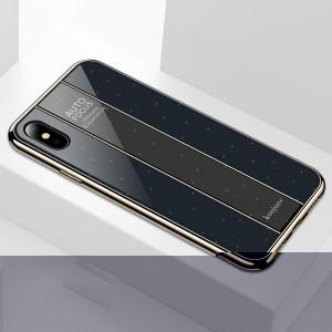 Силиконовый матовый непрозрачный чехол с поликарбонатной накладкой текстура Звезды для Iphone 7/8 Черный