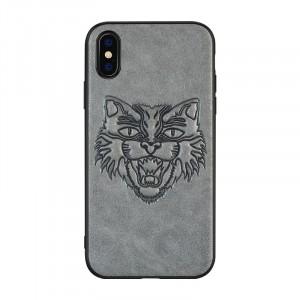 Силиконовый матовый непрозрачный дизайнерский чехол с текстурным покрытием Кожа для Iphone 7/8 Серый