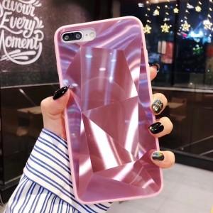 Силиконовый матовый непрозрачный чехол с глянцевой поликарбонатной накладкой текстура Призма для Iphone 7/8 Розовый