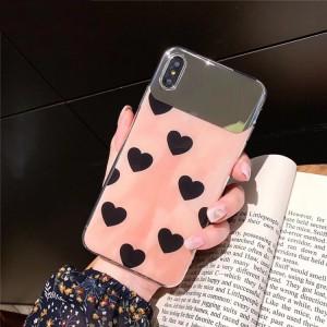 Силиконовый глянцевый непрозрачный чехол с текстурой Сердца для Iphone 7/8