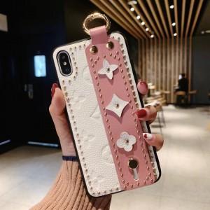 Силиконовый матовый непрозрачный чехол с текстурным покрытием Кожа с декоративным тиснением и петлей-держателем с функцией подставки для Iphone 7/8 Белый