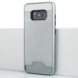 Двухкомпонентный силиконовый матовый непрозрачный чехол с поликарбонатной крышкой, встроенной ножкой-подставкой, отсеком для карт и текстурным покрытием Металлик для Samsung Galaxy S8 Серый