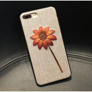 Силиконовый матовый непрозрачный чехол с текстурным покрытием Ткань для Iphone 7/8