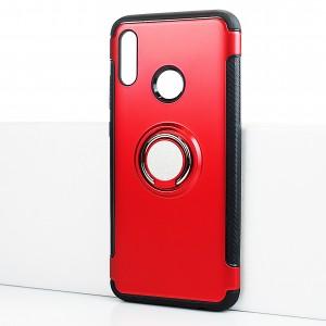 Противоударный двухкомпонентный силиконовый матовый непрозрачный чехол с поликарбонатными вставками с встроенным кольцом-подставкой для Huawei P Smart (2019) Красный
