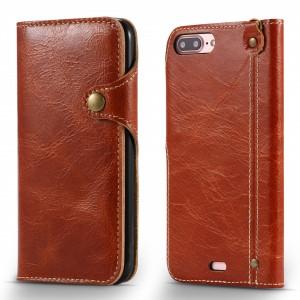 Винтажный чехол портмоне на силиконовой основе с отсеком для карт на дизайнерской магнитной защелке для Iphone 7/8 Коричневый