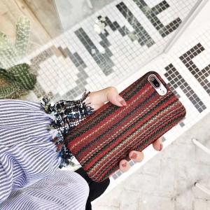 Пластиковый непрозрачный матовый чехол с текстурным покрытием Ткань для Iphone 7/8