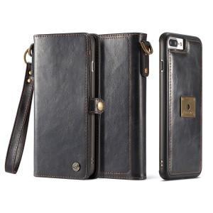 Чехол накладка текстурная отделка Кожа на магните с кожаным портмоне на застежке-кнопке для Iphone 7/8 Черный