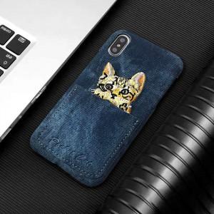Пластиковый непрозрачный матовый чехол с отсеком для карт текстурным покрытием Джинса и декоративной вышивкой для Iphone 7/8 Синий