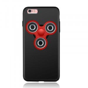 Пластиковый непрозрачный матовый чехол с улучшенной защитой элементов корпуса и спиннером на задней поверхности для Iphone 7/8 Черный
