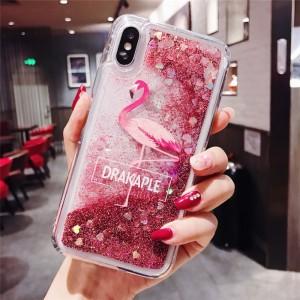 Силиконовый глянцевый полупрозрачный чехол c внутренней аква-аппликацией Фламинго для Iphone 7/8