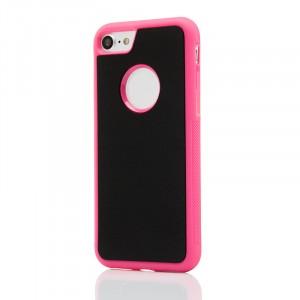 Силиконовый матовый непрозрачный чехол с нескользящими гранями с поликарбонатной накладкой для Iphone 7/8 Пурпурный
