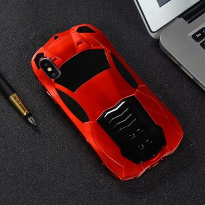 Силиконовый матовый непрозрачный дизайнерский фигурный чехол Спорткар с поликарбонатными вставками и встроенной ножкой-подставкой для Iphone 7/8 Красный