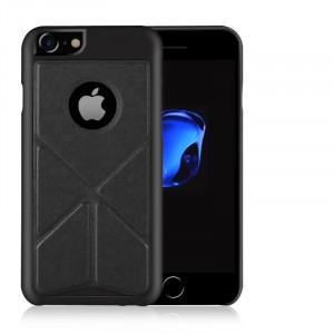 Пластиковый непрозрачный матовый чехол с текстурным покрытием Кожа и сегментарной подставкой для Iphone 7/8 Черный