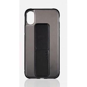 Силиконовый матовый полупрозрачный чехол с выдвигающейся ножкой-подставкой для Iphone 7/8 Черный