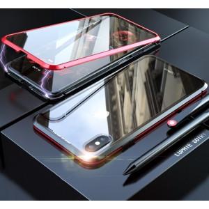 Двухкомпонентный металлический прямоугольный бампер на магнитах с транспарентной поликарбонатной накладкой для Iphone 7/8 Красный