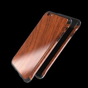 Двухкомпонентный чехол c металлическим бампером с деревянной накладкой для Iphone 7/8 Черный