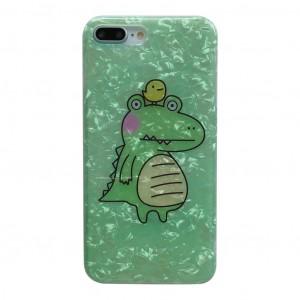 Силиконовый глянцевый непрозрачный чехол с текстурным покрытием Камень и принтом Крокодил для Iphone 7/8 Зеленый