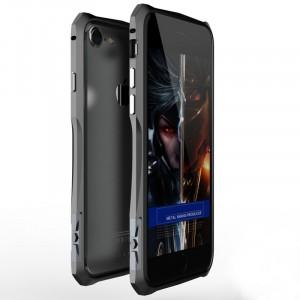 Металлический прямоугольный бампер c усиленными углами на пряжке для Iphone 7/8 Серый